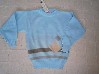 Vintage Crew-Neck Sweater - Age 5-6- Blue/Beige - Windsor -  Acrylic - New