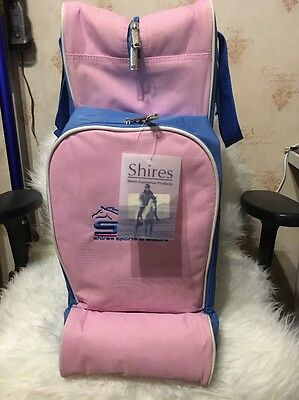 Shires Bag For Long Riding Boots, Helmet And Whip, Blue And Pink