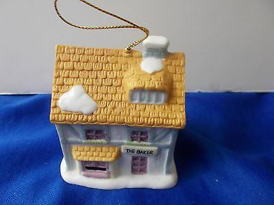The Baker Christmas tree ornament house cottage bell readers digest 1991 3""
