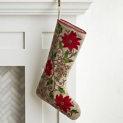 PIER 1 Embroidered & Beaded Poinsettia Stocking(S) NEW