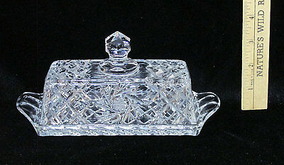 Ofnah Crystal Covered Butter Dish Star of David 24% Lead Glass Poland Palm Leaf