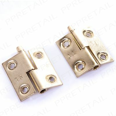 "2 x Lift Off Door Hinges -LEFT & RIGHT HAND- Brass 36mm/1.5"" Cabinet Rising Butt"