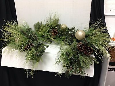 Frontgate Sun Valley Mantel 6' Pre Decorated Garland Swag Fireplace Mantel Door