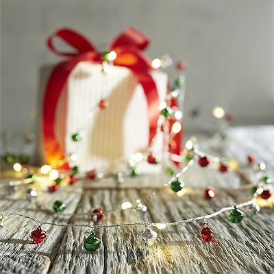 PIER 1 Peppermint Party Jingle Bell 10' LED Glimmer Strings LIGHTS NEW