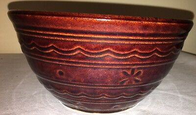 Vintage Marcrest Daisy Dot Brown Oven Proof Stoneware Mixing Bowl 8""