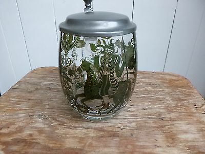 Vintage Lidded Glass Tankard Etched With Horse- Man With Spear And Deer's
