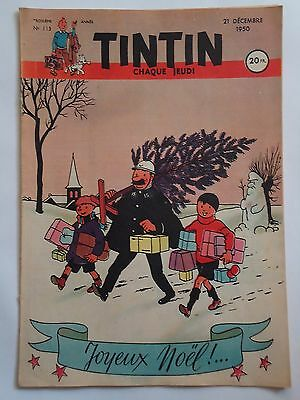 JOURNAL TINTIN n° 113  COUVERTURE DE HERGE  21/12/1950