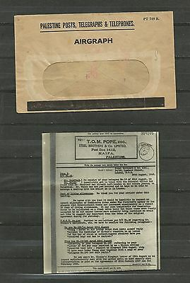 PALESTINE POSTS TELEGRAPHS and TELEPHONES COVER 1943