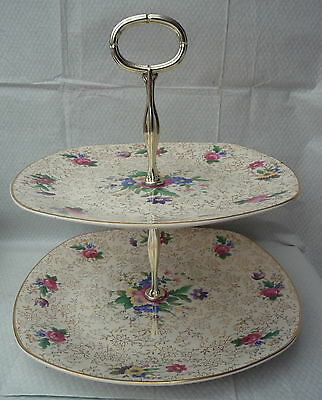 vintage midwinter gilt chintz 2 tier cake stand afternoon tea wedding party