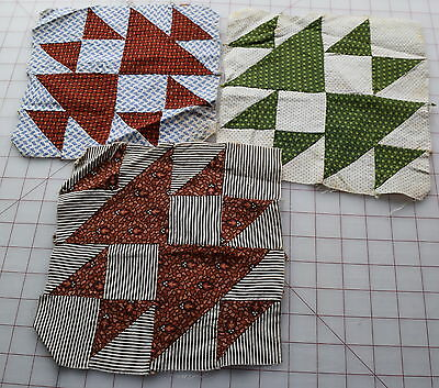 3 1870's quilt blocks, Cat & Mouse, beautiful madder red/browns!