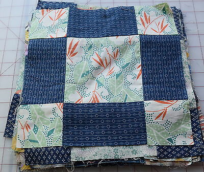 21 1900-20's Modified 9 Patch quilt blocks, lovely fabrics!