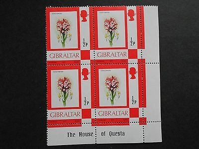 GIBRALTAR 4 X 1/2p Toothed Orchid Together Mint Hinged
