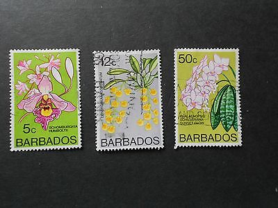 BARBADOS 3 Stamps With Flowers