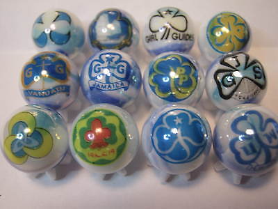 Girl Scouts & Girl Guides ect.. marbles collection lot 5/8 size + stands