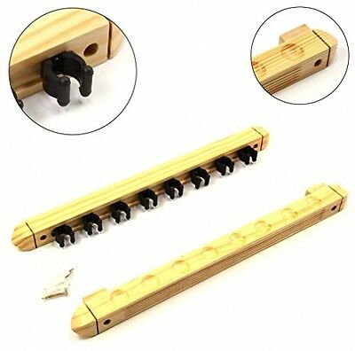 LIGHT OAK 8 Way CLIP Snooker Pool Cue Wall Mounted Rack - Holds Up To 8 Cues