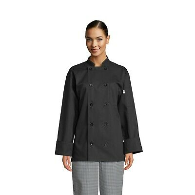 Uncommon Threads Classic 10 Button Chef Coat Black, XS to 2XL, 0402