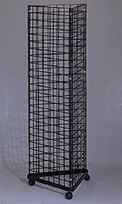 Wire Grid Triangle Tower Display Rack Casters Rolling Castors Black 2' x 6 ½' H