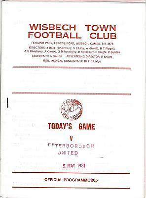 WISBECH TOWN v PETERBOROUGH UNITED 80-1 Friendly Programme