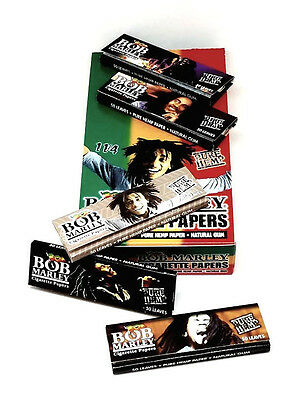 Bob Marley Hemp Rolling Papers 5 Packs 50 Leaves ea 1 1/4 USA Wholesale NEW