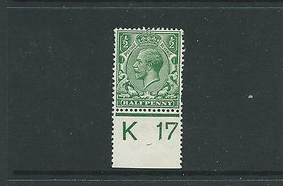 ROYAL CYPHER 1/2d GREEN CONTROL k17 PERF MARGIN FINE MOUNTED MINT