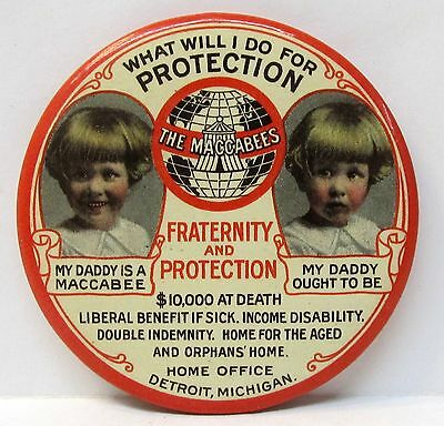 THE MACCABEES FRATERNITY AND PROTECTION celluloid pocket mirror *