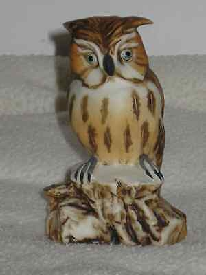 Vintage Capodimonte Italy Great Horned Owl Porcelain Tay figure signed bird