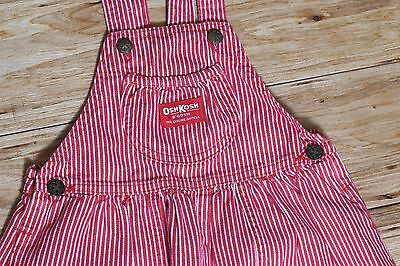 Vintage OshKosh B'Gosh USA Union Made Bib Vestbak Overalls Red Pinstripe Size 6