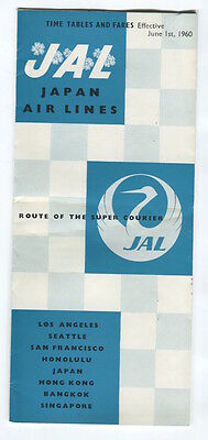 Jal Japan Airlines Timetable June 1960 Jl Cabin Pic