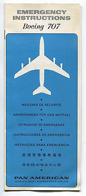 Pan Am Boeing 707 Safety Card Brochure 1970 American World Airways
