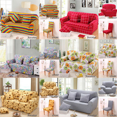 Washable Chair&Sofa 1/3 Seater Settee Easy Fit Stretch Elastic Slip Cover Couch