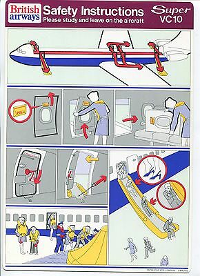 British Airways Vickers Super Vc10 Safety Card Ba Vintage