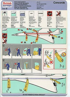 British Airways Concorde Safety Card Issue 6
