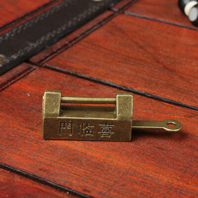 Retro Chinese Small Padlock Lock Key Carved Words for Drawer Chest Collect
