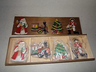 Vintage Wood Box Holds 4 Christmas Ornaments Santa Train Christmas Tree Drummer