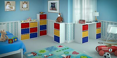 Toy Storage Unit Kids Chest Canvas Drawers Bookcase Children's Bedroom Playroom