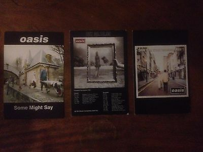 3 very rare Oasis promotional postcards, Morning Glory/Wonderwall/Some Might Say