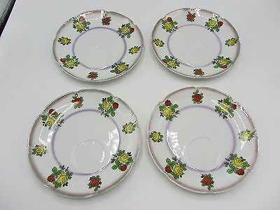 Vintage 1920's Eleanor Snack Set Made In Germay 8 Piece Set Tea Cup Saucer Plate