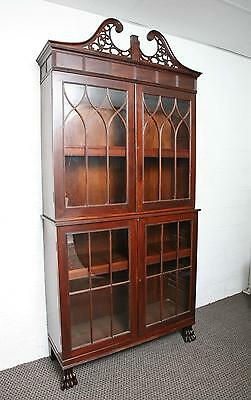 Antique 19th Century Mahogany Federal Style Bookcase,Display Cabinet Lion Feet