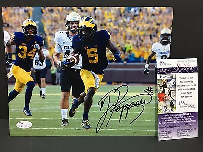Jabrill Peppers Signed Michigan Wolverines 8X10 Photo Football Autographed Jsa 7