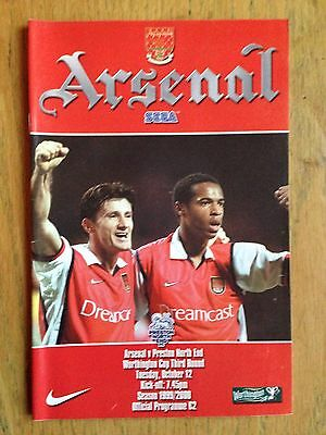 Arsenal v Preston North End 1999/2000 League Cup programme