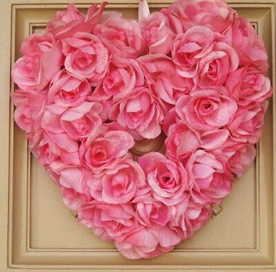 New Pink Roses Heart Valentine's Day Spring Summer  Door Wall Wreath