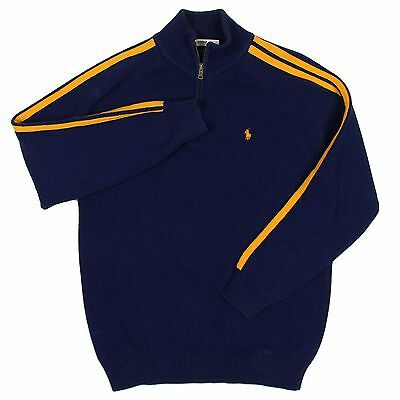 Ralph Lauren Polo Sweater XL Boys Blue with Yellow Racing Stripes Pullover Top