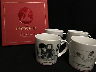 The New Yorker Christmas Holiday Mugs Set of 4 ~ RESTORATION HARDWARE ~ In box