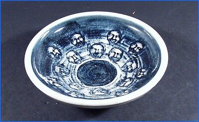 Blue & White Art Pottery Dish Bowl, 16 Faces, Signed