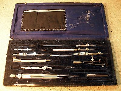 Vintage Engineering Drafting Drawing Tool Kit Ink Lead Divider Compass Pens E310