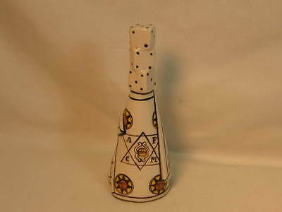 Faience Pottery Bell Very Unusual Three Dice Handle