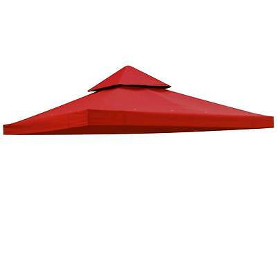 10'x10' Gazebo Top Canopy Replacement 2 Tier Outdoor Patio UV30+ 200g Red Cover