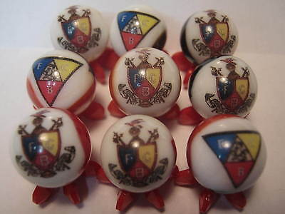 Knights of Pythias MASONIC MASON collection glass marbles 5/8 size with stands