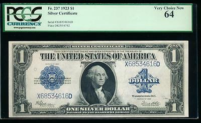 AC Fr 237 $1 1923 Silver Certificate PCGS 64 uncirculated !!