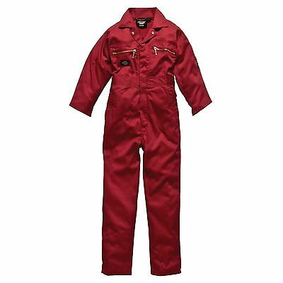 Dickies Redhawk Junior/Childrens Zip Front Overalls/Coverall/Suit - Red - 26